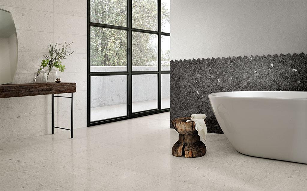 Piastrelle-bagno_Ceramiche-Coem_Moon_Stone_White-60x60-30x60-Lucidato_Black-Mosaico-Rombi