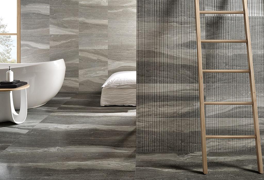 piastrelle-bagno_Ceramiche-Coem_Dualmood_Dark-Grey-60x120-Luc_Grey-30x60-Nat_Grey-Plissè-30x60