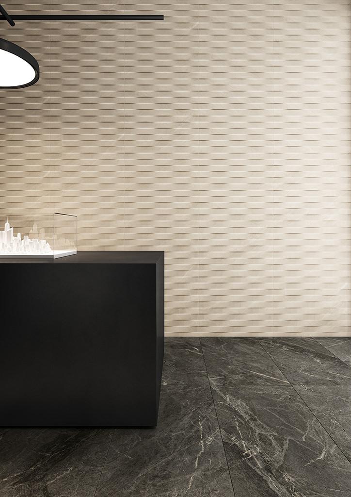 Ceramiche-Coem_Soap-Stone_Black-45x90_White-Waves-30x60_rivestimenti